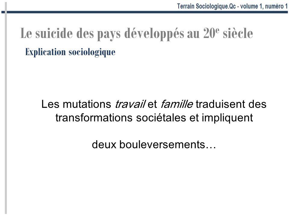 Explication sociologique Le suicide des pays développés au 20 e siècle Les mutations travail et famille traduisent des transformations sociétales et impliquent deux bouleversements…