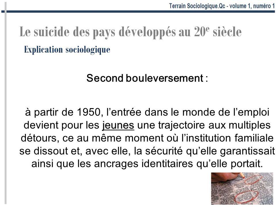 Explication sociologique Le suicide des pays développés au 20 e siècle Second bouleversement : jeunes à partir de 1950, lentrée dans le monde de lempl