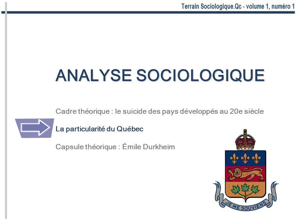 ANALYSE SOCIOLOGIQUE Cadre théorique : le suicide des pays développés au 20e siècle La particularité du Québec Capsule théorique : Émile Durkheim