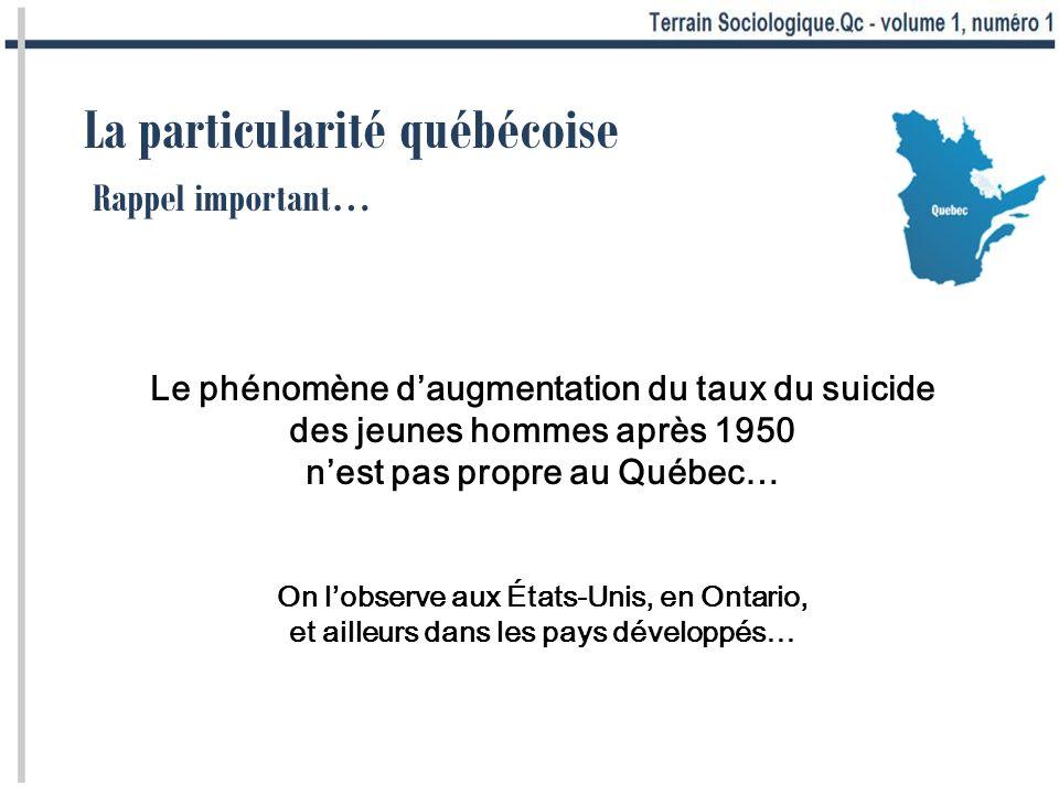La particularité québécoise Le phénomène daugmentation du taux du suicide des jeunes hommes après 1950 nest pas propre au Québec… On lobserve aux États-Unis, en Ontario, et ailleurs dans les pays développés… Rappel important…