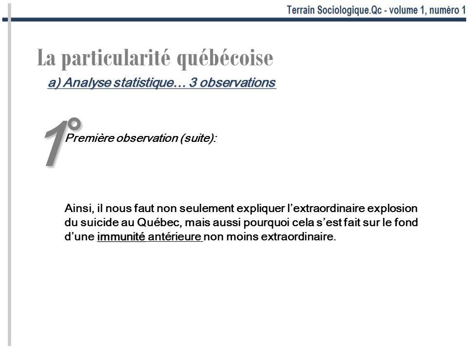 1°1°1°1° La particularité québécoise Première observation (suite): immunité Ainsi, il nous faut non seulement expliquer lextraordinaire explosion du s