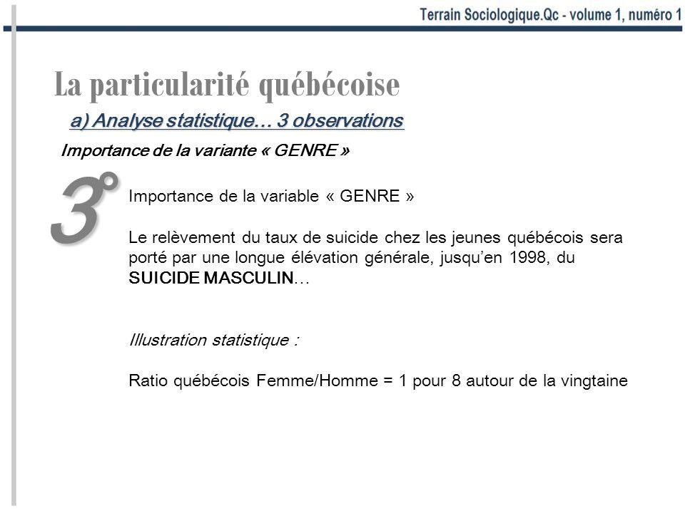 La particularité québécoise Importance de la variante « GENRE » Importance de la variable « GENRE » Le relèvement du taux de suicide chez les jeunes q