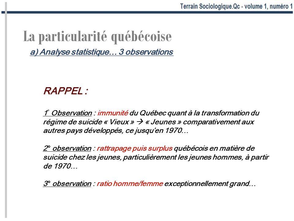 La particularité québécoise RAPPEL : 1 ° Observation : immunité du Québec quant à la transformation du régime de suicide « Vieux » « Jeunes » comparat