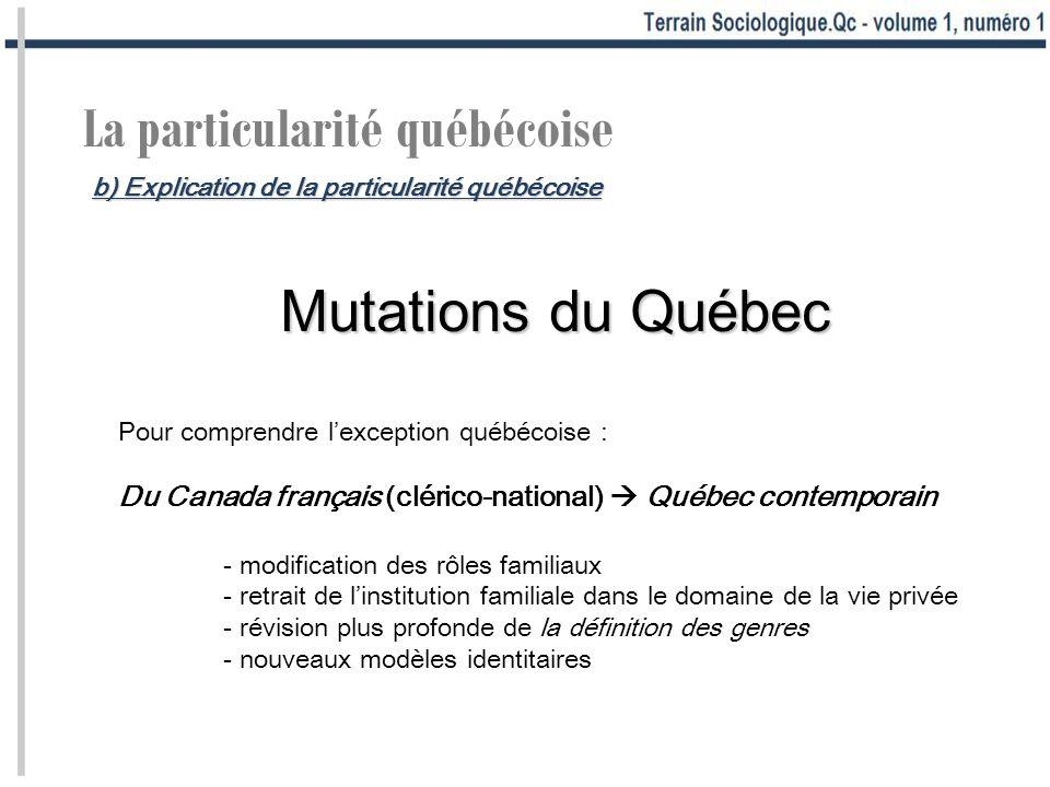 La particularité québécoise Mutations du Québec Pour comprendre lexception québécoise : Du Canada français (clérico-national) Québec contemporain - mo