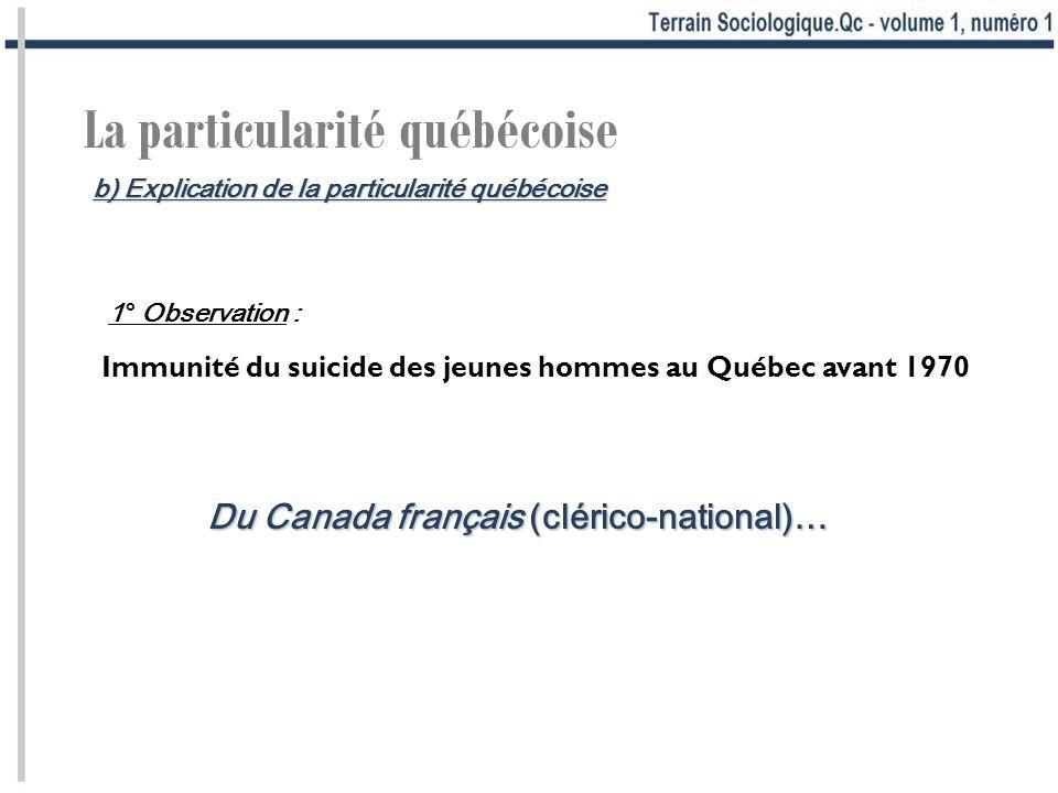 La particularité québécoise Immunité du suicide des jeunes hommes au Québec avant 1970 Du Canada français (clérico-national)… 1° Observation : b) Expl