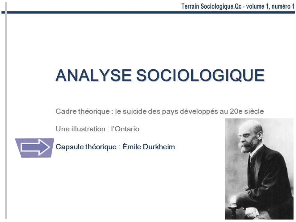 ANALYSE SOCIOLOGIQUE Cadre théorique : le suicide des pays développés au 20e siècle Une illustration : lOntario Capsule théorique : Émile Durkheim