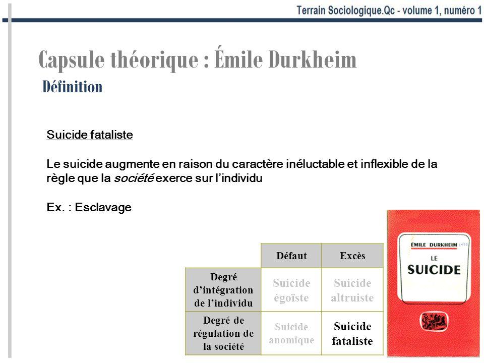 Capsule théorique : Émile Durkheim Définition Suicide fataliste Le suicide augmente en raison du caractère inéluctable et inflexible de la règle que la société exerce sur lindividu Ex.