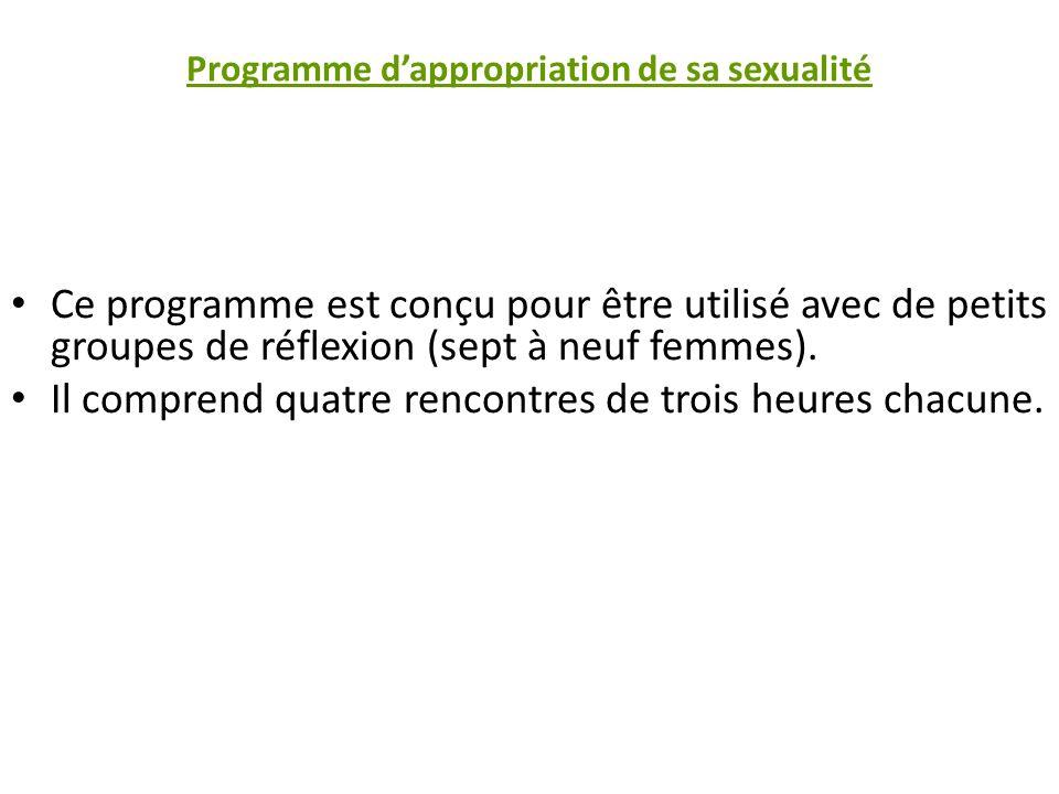 Programme dappropriation de sa sexualité Ce programme est conçu pour être utilisé avec de petits groupes de réflexion (sept à neuf femmes).