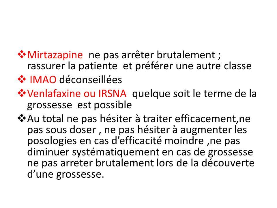 Mirtazapine ne pas arrêter brutalement ; rassurer la patiente et préférer une autre classe IMAO déconseillées Venlafaxine ou IRSNA quelque soit le ter