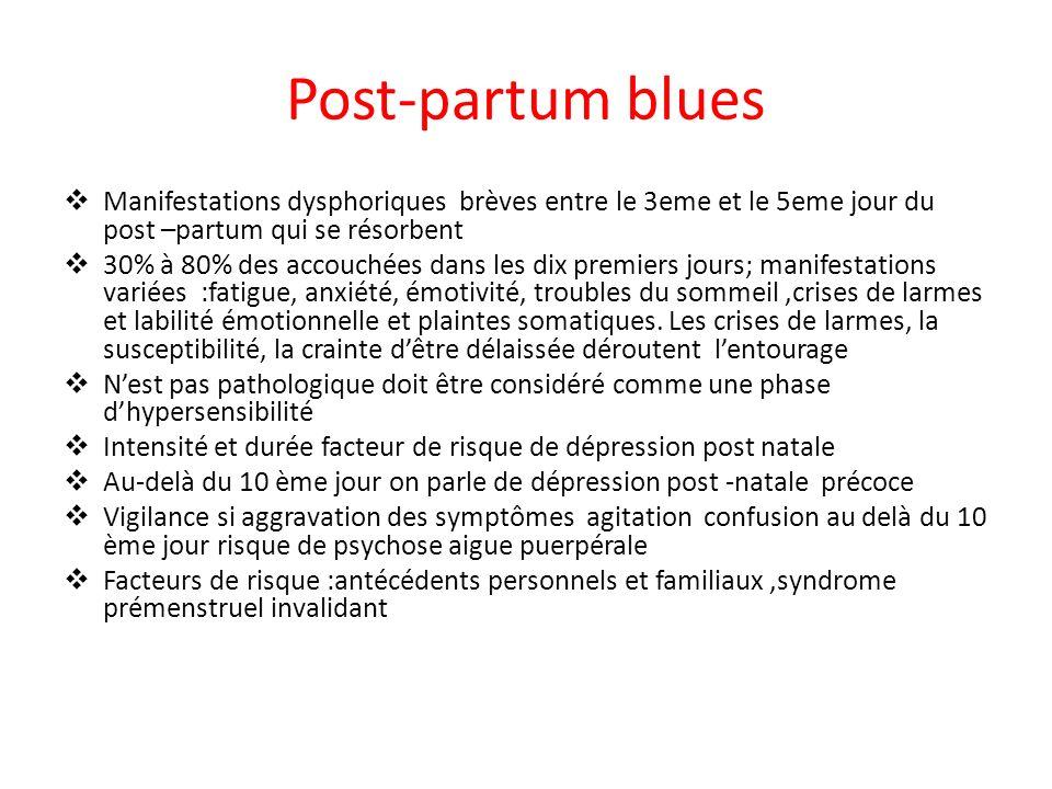Post-partum blues Manifestations dysphoriques brèves entre le 3eme et le 5eme jour du post –partum qui se résorbent 30% à 80% des accouchées dans les