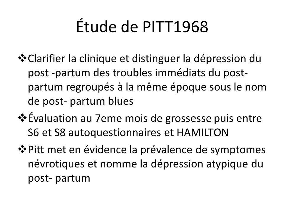 Étude de PITT1968 Clarifier la clinique et distinguer la dépression du post -partum des troubles immédiats du post- partum regroupés à la même époque