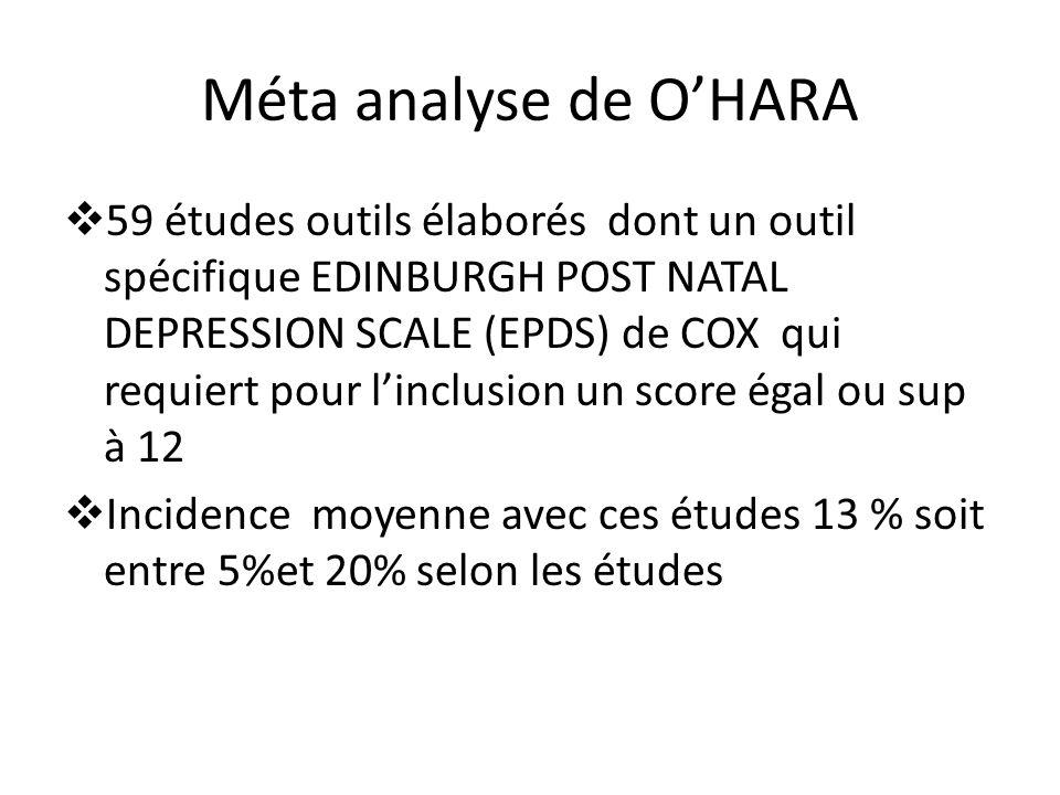 Méta analyse de OHARA 59 études outils élaborés dont un outil spécifique EDINBURGH POST NATAL DEPRESSION SCALE (EPDS) de COX qui requiert pour linclus