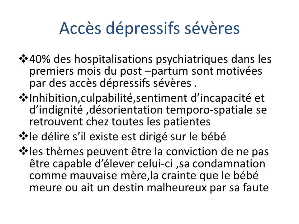 Accès dépressifs sévères 40% des hospitalisations psychiatriques dans les premiers mois du post –partum sont motivées par des accès dépressifs sévères