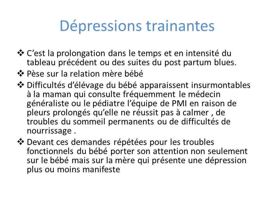 Dépressions trainantes Cest la prolongation dans le temps et en intensité du tableau précédent ou des suites du post partum blues. Pèse sur la relatio