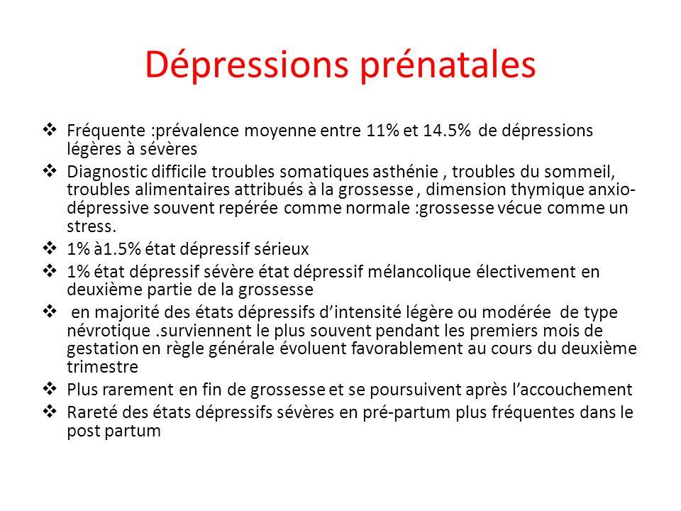 Dépressions prénatales Fréquente :prévalence moyenne entre 11% et 14.5% de dépressions légères à sévères Diagnostic difficile troubles somatiques asth