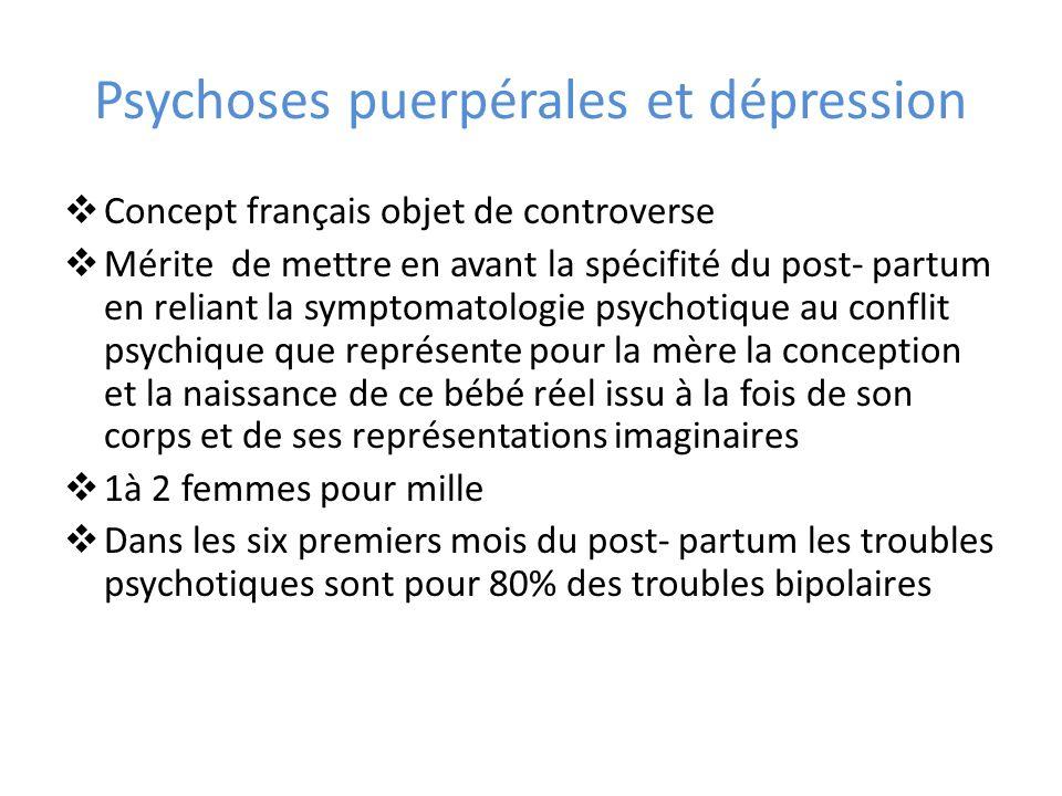 Psychoses puerpérales et dépression Concept français objet de controverse Mérite de mettre en avant la spécifité du post- partum en reliant la symptom