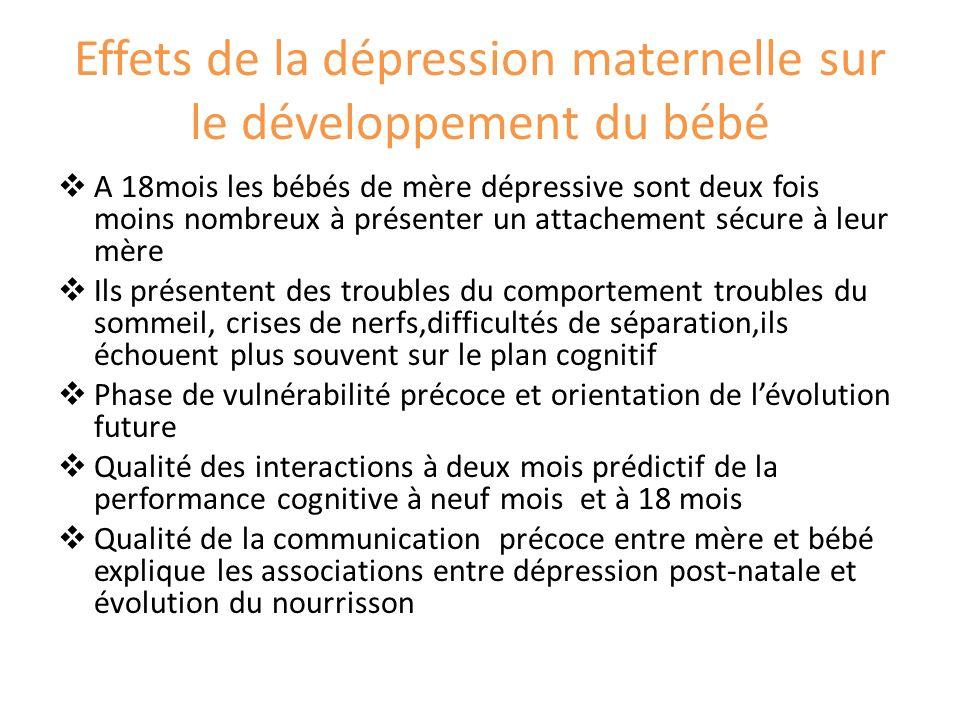 Effets de la dépression maternelle sur le développement du bébé A 18mois les bébés de mère dépressive sont deux fois moins nombreux à présenter un att