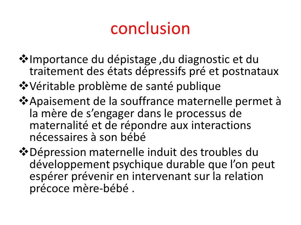 conclusion Importance du dépistage,du diagnostic et du traitement des états dépressifs pré et postnataux Véritable problème de santé publique Apaiseme