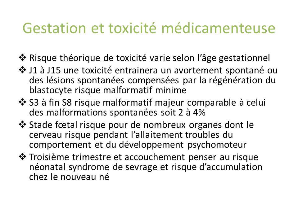 Gestation et toxicité médicamenteuse Risque théorique de toxicité varie selon lâge gestationnel J1 à J15 une toxicité entrainera un avortement spontan