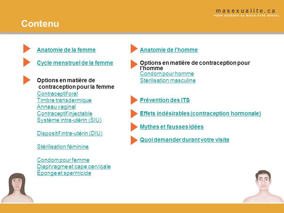 Contenu Anatomie de la femmeAnatomie de lhomme Cycle menstruel de la femmeCycle menstruel de la femmeOptions en matière de contraception pour lhomme C