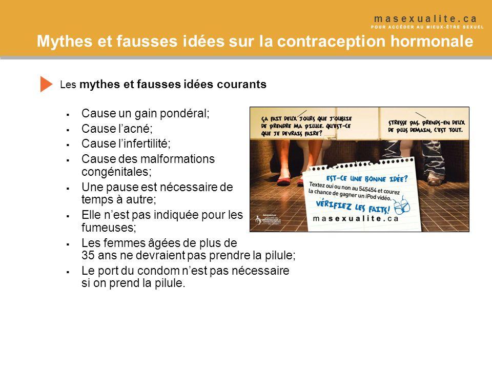 Mythes et fausses idées sur la contraception hormonale Les mythes et fausses idées courants Cause un gain pondéral; Cause lacné; Cause linfertilité; C