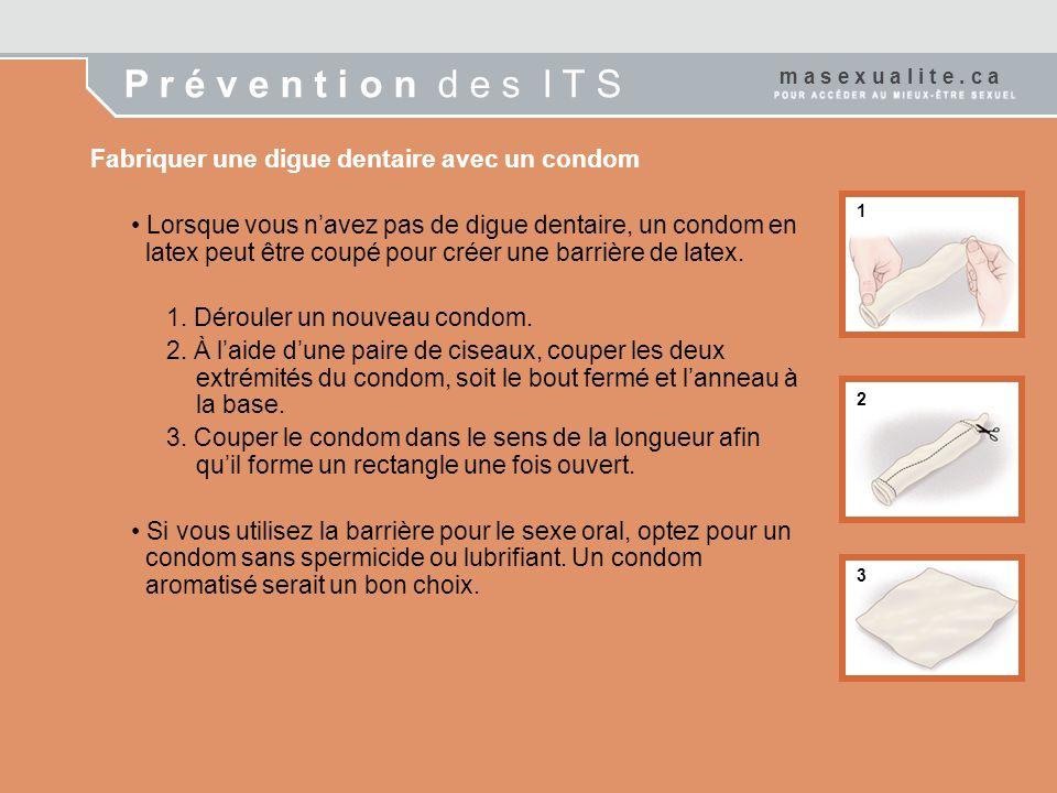 P r é v e n t i o n d e s I T S Fabriquer une digue dentaire avec un condom Lorsque vous navez pas de digue dentaire, un condom en latex peut être cou