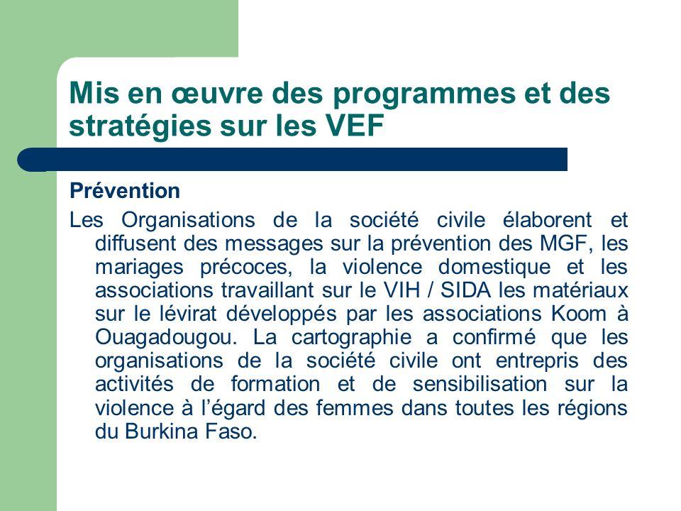Mis en œuvre des programmes et des stratégies sur les VEF Prévention Les Organisations de la société civile élaborent et diffusent des messages sur la