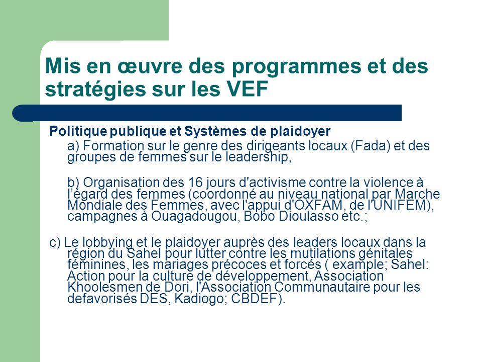 Mis en œuvre des programmes et des stratégies sur les VEF Politique publique et Systèmes de plaidoyer a) Formation sur le genre des dirigeants locaux