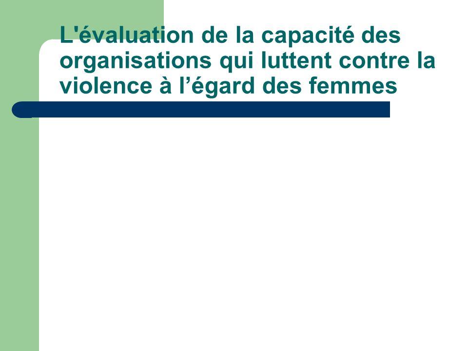 L'évaluation de la capacité des organisations qui luttent contre la violence à légard des femmes