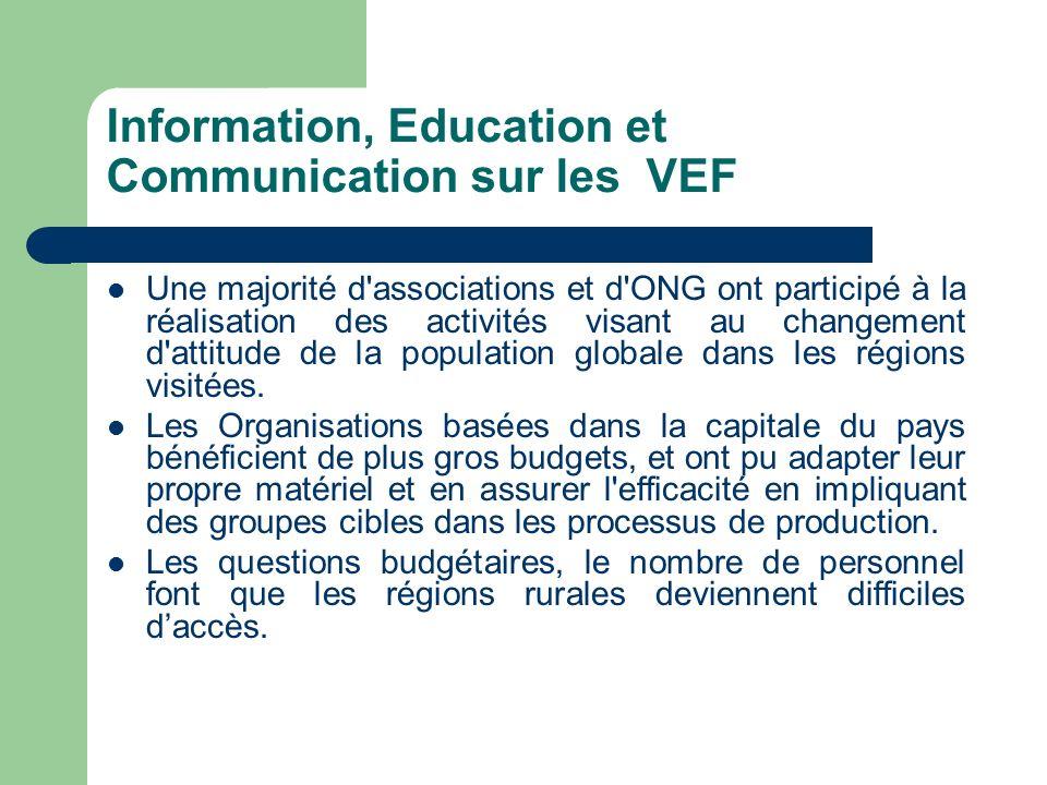 Information, Education et Communication sur les VEF Une majorité d'associations et d'ONG ont participé à la réalisation des activités visant au change