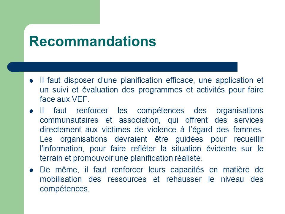 Recommandations Il faut disposer dune planification efficace, une application et un suivi et évaluation des programmes et activités pour faire face au