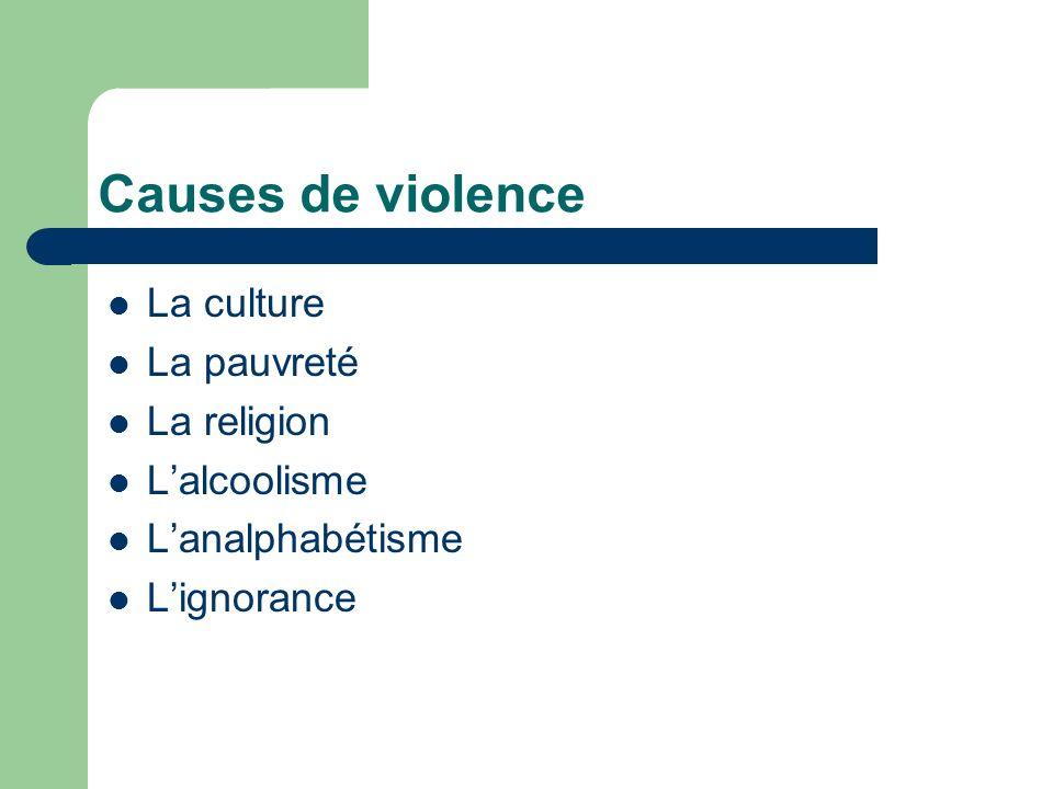 Causes de violence La culture La pauvreté La religion Lalcoolisme Lanalphabétisme Lignorance