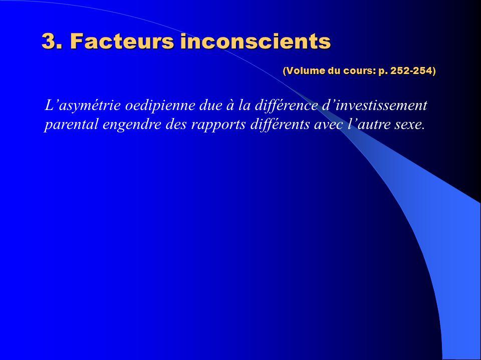 3. Facteurs inconscients (Volume du cours: p. 252-254) Lasymétrie oedipienne due à la différence dinvestissement parental engendre des rapports différ