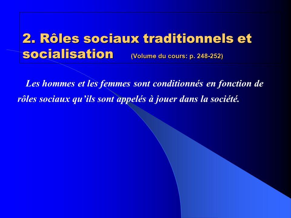 Rôles sociaux traditionnels assignés aux hommes et aux femmes HommesFemmes Pourvoyeur: développer des compétences et entrer en compétition sur le marché du travail afin de procurer des ressources à la famille.