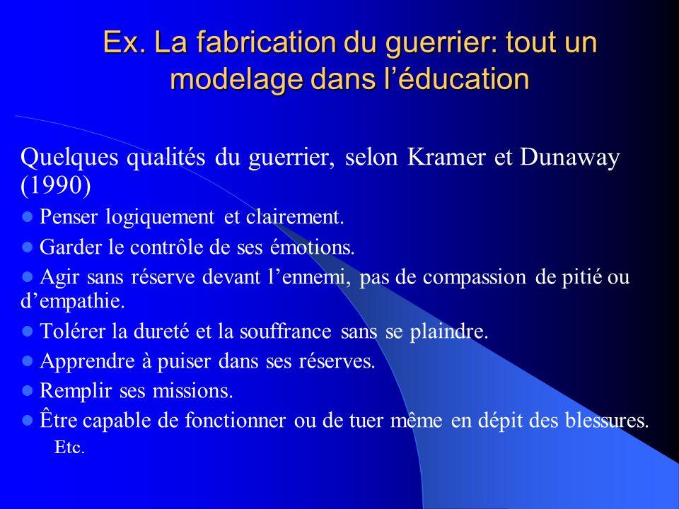 Ex. La fabrication du guerrier: tout un modelage dans léducation Quelques qualités du guerrier, selon Kramer et Dunaway (1990) Penser logiquement et c