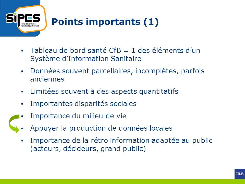 Points importants (1) Tableau de bord santé CfB = 1 des éléments dun Système dInformation Sanitaire Données souvent parcellaires, incomplètes, parfois