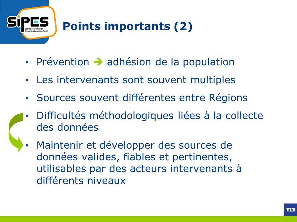 Prévention adhésion de la population Les intervenants sont souvent multiples Sources souvent différentes entre Régions Difficultés méthodologiques liées à la collecte des données Maintenir et développer des sources de données valides, fiables et pertinentes, utilisables par des acteurs intervenants à différents niveaux Points importants (2)