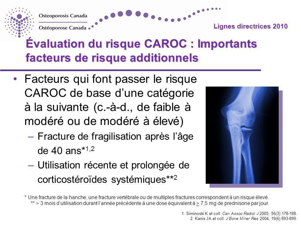 Lignes directrices 2010 Évaluation du risque CAROC : Importants facteurs de risque additionnels Facteurs qui font passer le risque CAROC de base dune