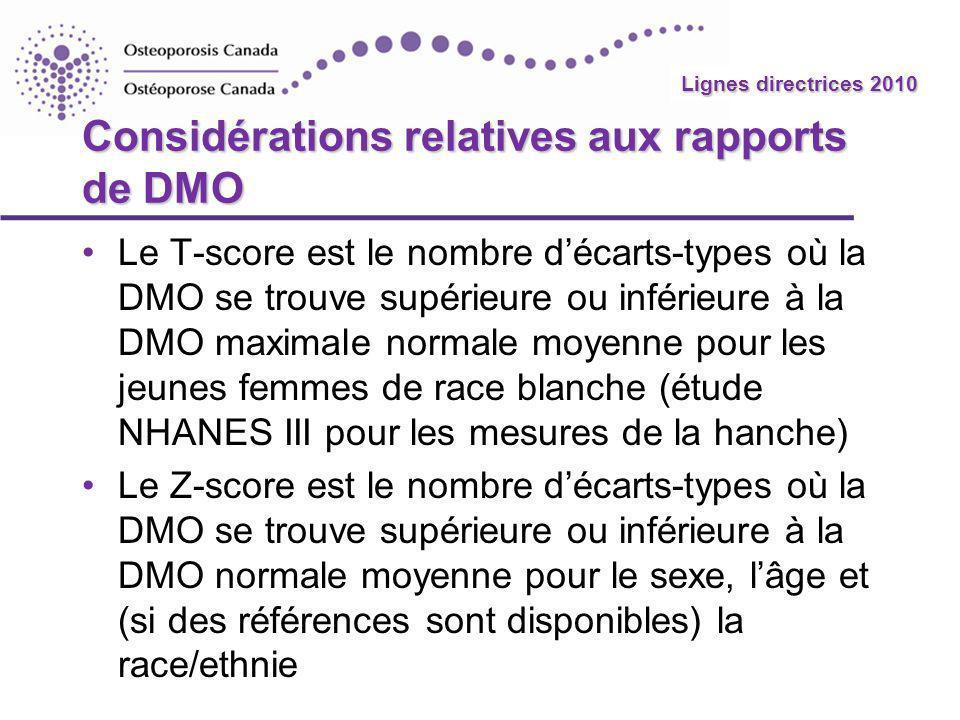 Lignes directrices 2010 Considérations relatives aux rapports de DMO Le T-score est le nombre décarts-types où la DMO se trouve supérieure ou inférieu