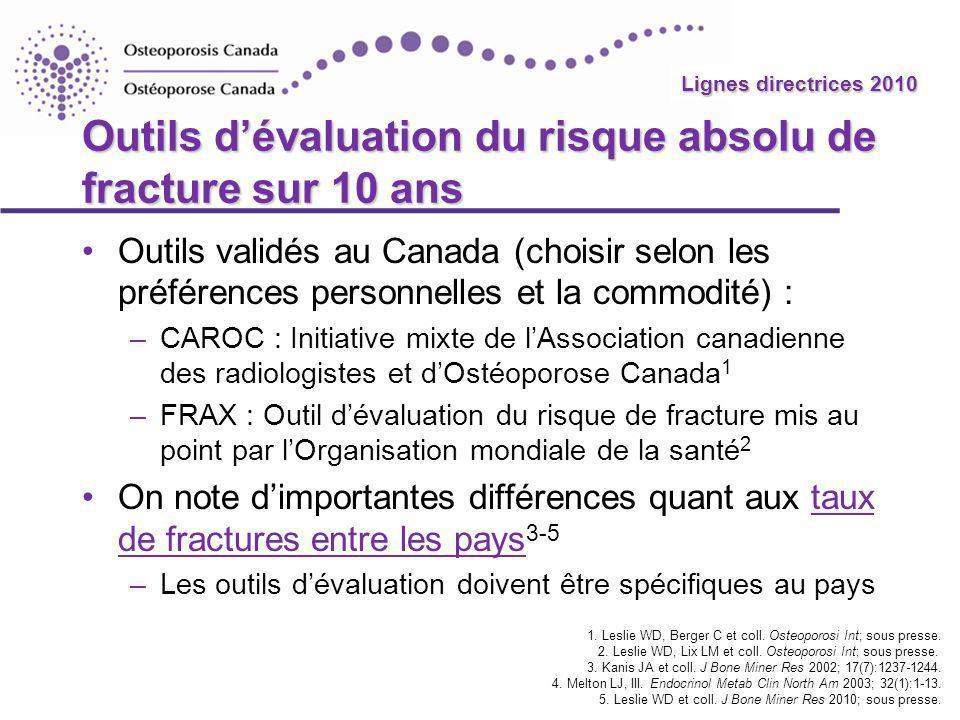 Lignes directrices 2010 Outils dévaluation du risque absolu de fracture sur 10 ans Outils validés au Canada (choisir selon les préférences personnelle