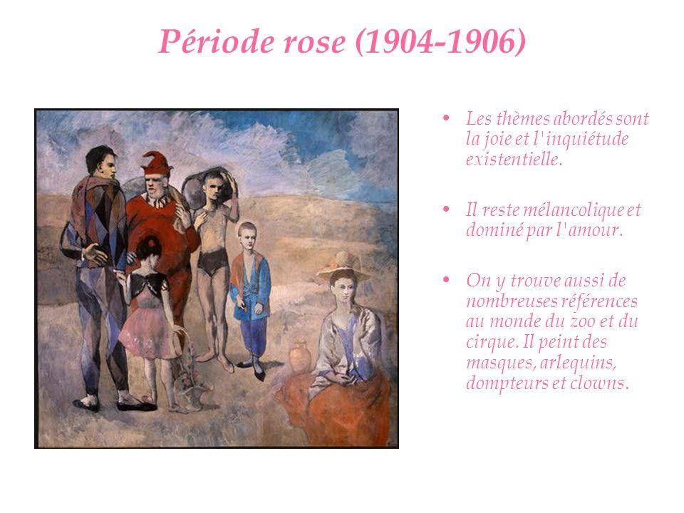 Période rose (1904-1906) Les thèmes abordés sont la joie et l'inquiétude existentielle. Il reste mélancolique et dominé par l'amour. On y trouve aussi