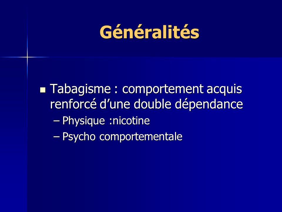 Généralités Tabagisme : comportement acquis renforcé dune double dépendance Tabagisme : comportement acquis renforcé dune double dépendance –Physique :nicotine –Psycho comportementale