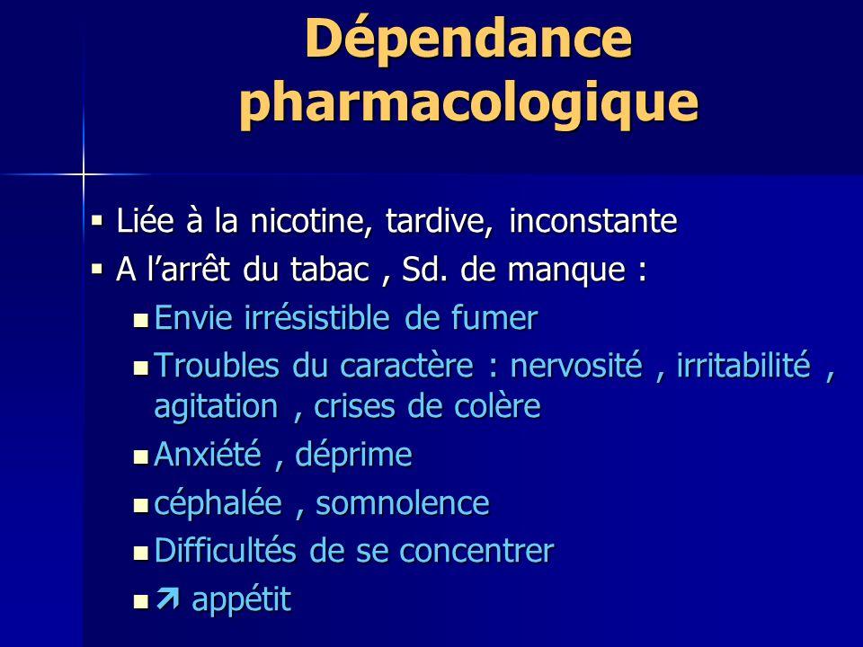 Dépendance pharmacologique Liée à la nicotine, tardive, inconstante Liée à la nicotine, tardive, inconstante A larrêt du tabac, Sd.