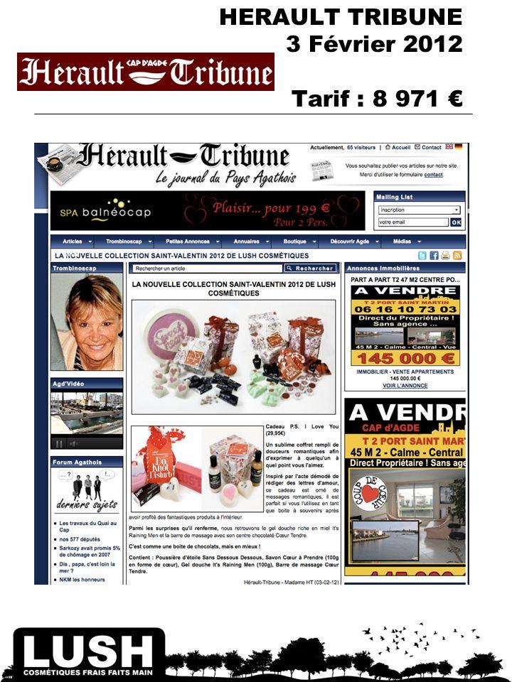 HERAULT TRIBUNE 3 Février 2012 Tarif : 8 971