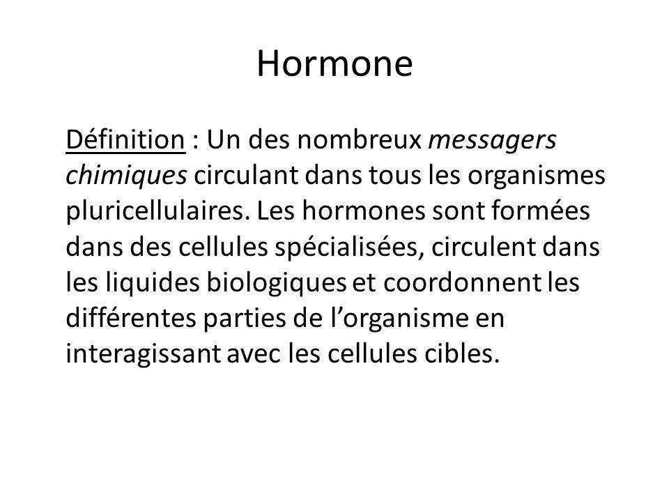 Hormone Définition : Un des nombreux messagers chimiques circulant dans tous les organismes pluricellulaires. Les hormones sont formées dans des cellu