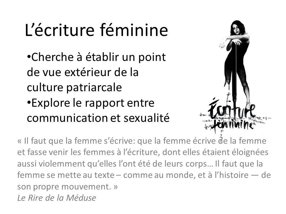 Lécriture féminine « Il faut que la femme sécrive: que la femme écrive de la femme et fasse venir les femmes à lécriture, dont elles étaient éloignées