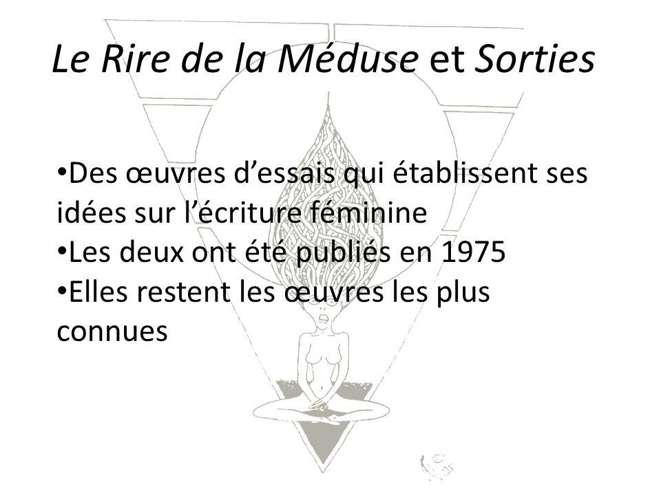 Le Rire de la Méduse et Sorties Des œuvres dessais qui établissent ses idées sur lécriture féminine Les deux ont été publiés en 1975 Elles restent les œuvres les plus connues