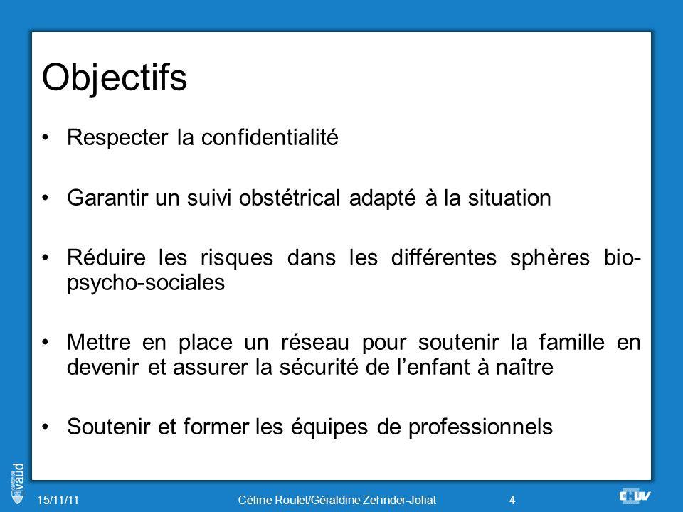 Objectifs Respecter la confidentialité Garantir un suivi obstétrical adapté à la situation Réduire les risques dans les différentes sphères bio- psych