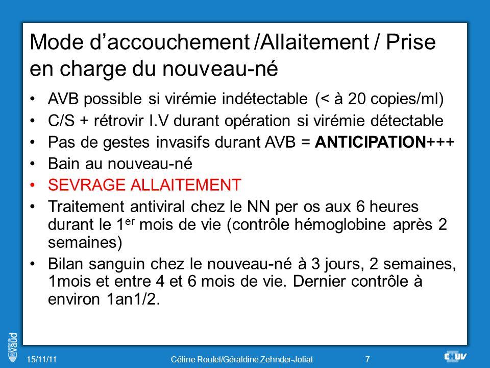 Mode daccouchement /Allaitement / Prise en charge du nouveau-né AVB possible si virémie indétectable (< à 20 copies/ml) C/S + rétrovir I.V durant opér