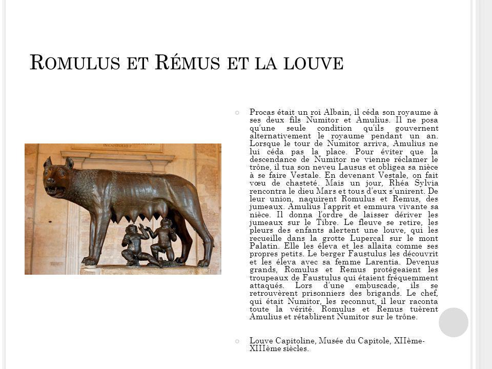 R OMULUS ET R ÉMUS ET LA LOUVE Procas était un roi Albain, il céda son royaume à ses deux fils Numitor et Amulius.